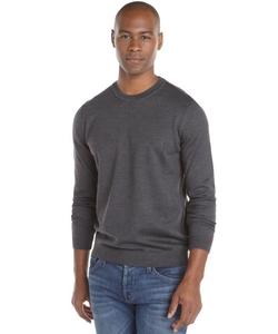 Virgin Wool Knit Logo 'Bagritte-D' Crewneck Sweater by Boss Hugo Boss in Straight Outta Compton
