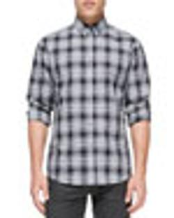 Plaid Button-Down Shirt by Theory in The Other Woman