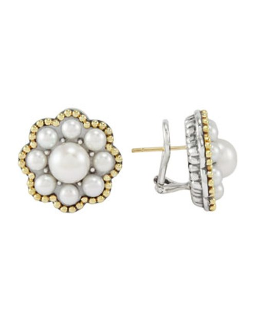 Luna Silver/Gold Pearl Cluster Earrings by Lagos in That Awkward Moment