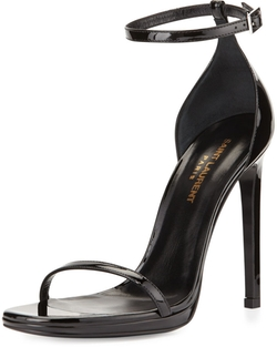 Patent Ankle-Wrap Sandal by Saint Laurent in Empire