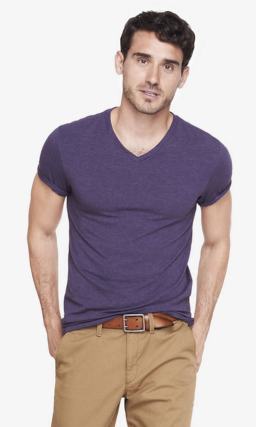 Stretch Cotton V-Neck Tee by Express in The Vampire Diaries - Season 7 Episode 3