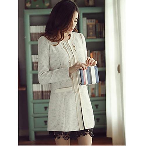 Slim Round Collar Long Sleeve Tweed Coat by Mengrandy in Legend