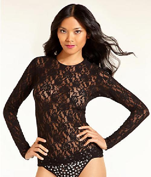 Signature Lace Long Sleeve Top by Hanky Panky in Sabotage