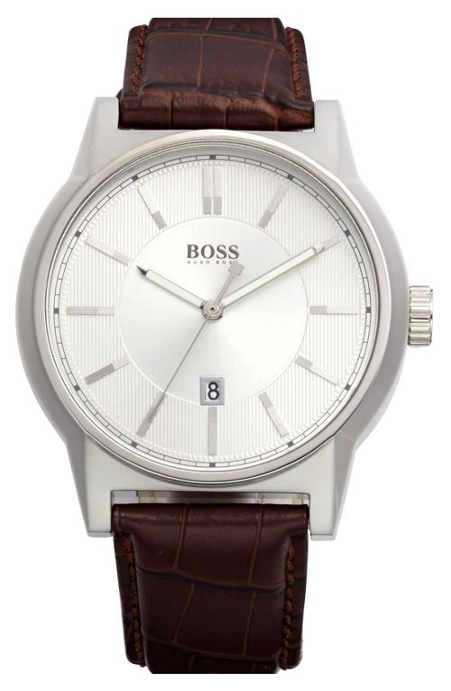 'Architecture' Round Leather Strap Watch by Hugo Boss in Unbroken