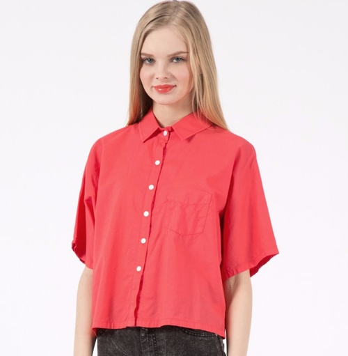 Hot Red Batiste Cropped Button Up Shirt by Band of Outsiders in The Boss