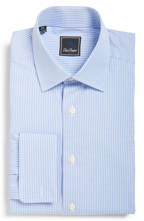 Regular Fit Check Dress Shirt by David Donahue in Spotlight