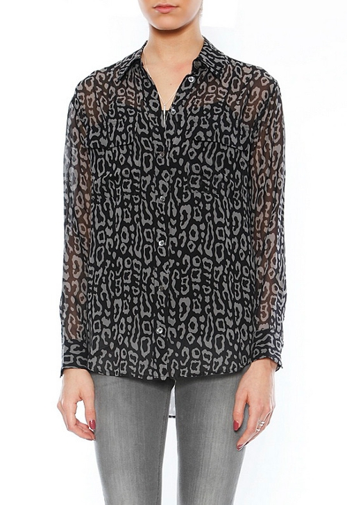 Leopard Print Signature Chiffon Blouse by Equipment in The Overnight