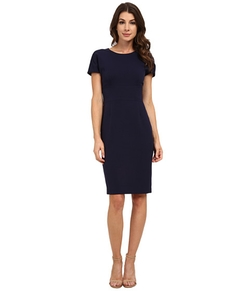 Topstitch Cap Sleeve Dress by Anne Klein in Black-ish