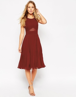 Sheer And Solid Pleated Midi Dress by Asos in Scream Queens