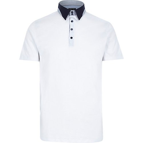 White Contrast Splice Collar Polo Shirt by River Island in Horrible Bosses 2