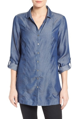 Drapey Denim Roll Sleeve Tunic Top by Nic+ Zoe in Supergirl