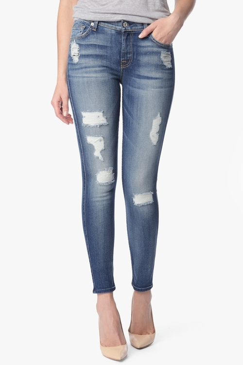 Distressed Authentic Light Ankle Skinny Jeans by 7 For All Mankind in Pretty Little Liars - Season 6 Episode 11