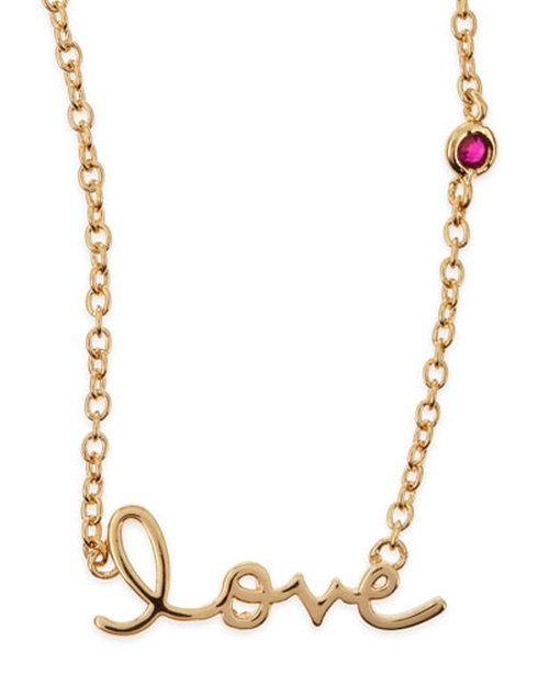 Love Bezel-Ruby Pendant Necklace by Shy By Sydney Evan in Knock Knock