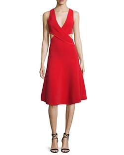 Cutout Ribbed Cross-Front Dress by Jonathan Simkhai in Mistresses