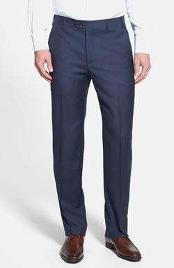 'Devon' Flat Front Wool Trousers by Zanella in Survivor