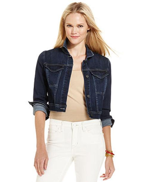 Cropped Denim Trucker Jacket, Tokyo Blue by Calvin Klein Jeans in Ride Along
