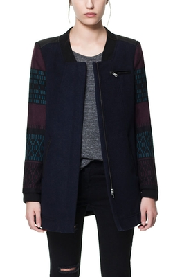 Coat with Jacquard Sleeves by Zara in Arrow