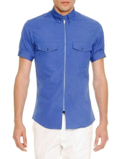Zip-Placket Short-Sleeve Poplin Shirt by Alexander McQueen	 in Love & Mercy