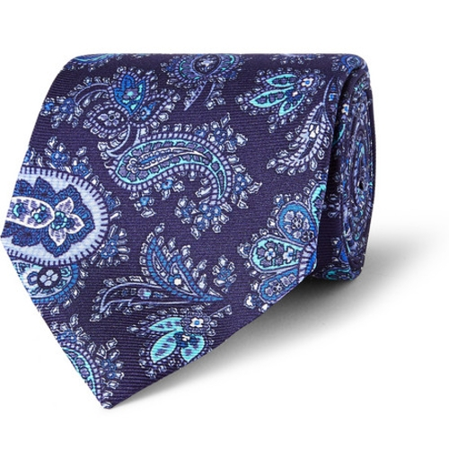 Paisley-Print Silk Tie by Etro in Self/Less