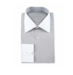 Contrast-Collar Striped Dress Shirt by Stefano Ricci in Murder on the Orient Express