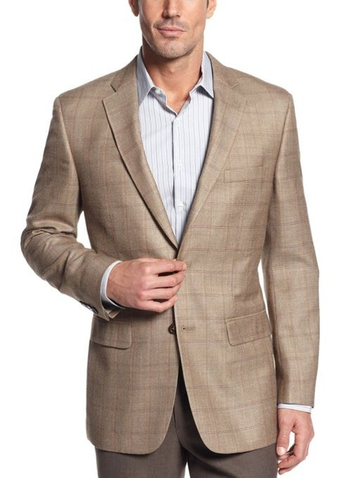 Khaki Silk and Wool Blazer Windowpane Sportcoat by Tasso Elba in Dolphin Tale 2
