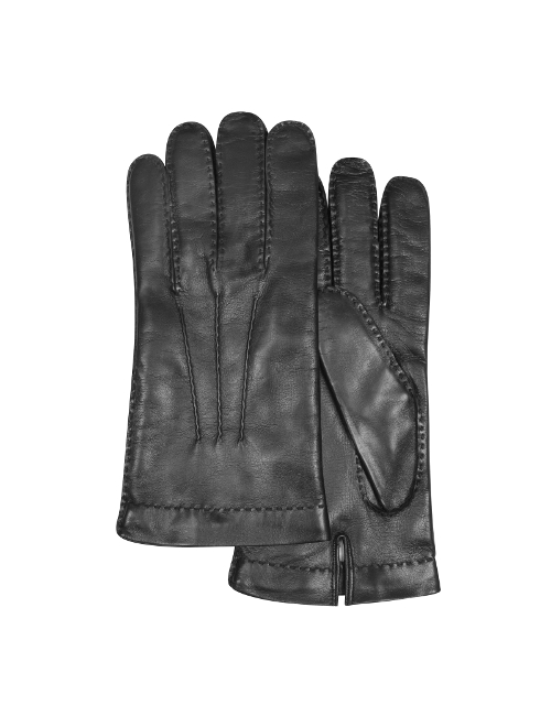 Cashmere Lined Black Italian Leather Gloves by Forzieri in Man of Tai Chi