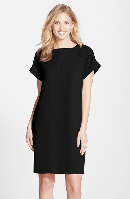 Crepe Short Sleeve Shift Dress by Andrew Marc in A Walk in the Woods