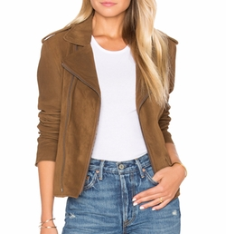Vintage Suede MC Jacket by June in Rosewood