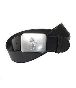 Pony Plaque Black Belt by Polo Ralph Lauren in Dope
