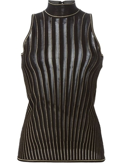 Striped High Collar Knit Tank Top by Roberto Cavalli in Empire