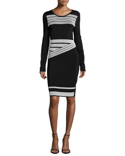 Long-Sleeve Contrast-Stripe Dress by Shoshanna in The Good Wife