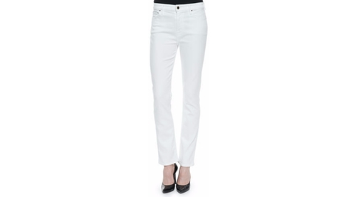 High-Rise Slim Straight Jeans by JEN7 in Rosewood