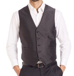 Pindot Five-Button Vest by Carrot & Gibbs in Rosewood