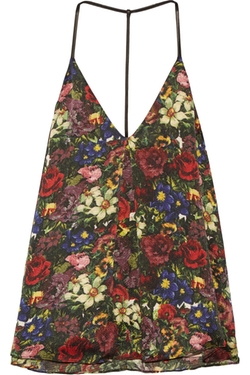 Guenda Leather-Trimmed Floral-Print Silk Top by Alice + Olivia in Modern Family