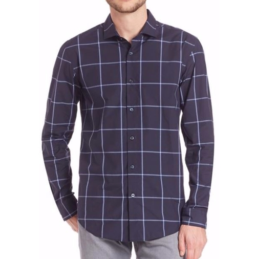 Colored Ground Check Shirt by Hugo Boss in The Good Place