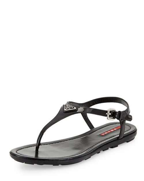 Vernice Logo Thong Sandals by Prada Linea Rossa in Begin Again