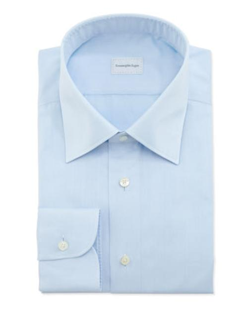 Tonal-Herringbone Dress Shirt by Ermenegildo Zegna in Laggies