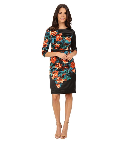 Printed Sheath Dress by Adrianna Papell in The Good Wife - Season 7 Episode 12