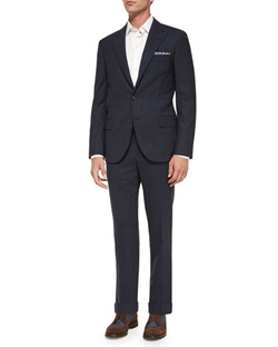 Windowpane Two-Piece Wool Suit by Brunello Cucinelli in Suits