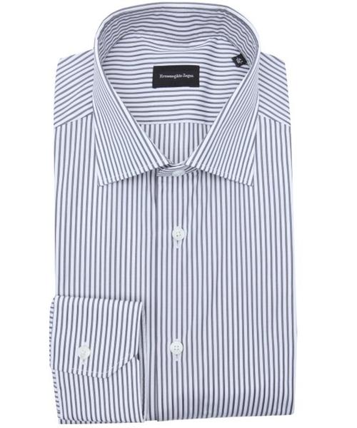Stripe Cotton Spread Collar Dress Shirt by Ermenegildo Zegna in Suits - Season 5 Episode 4