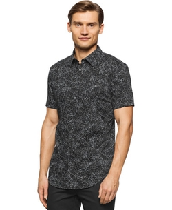 One Short Sleeve Splatter Print Shirt by Calvin Klein in Dope