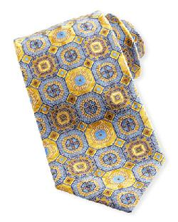 Zegna Octagon Medallion Silk Tie, Yellow by Ermenegildo in Sabotage