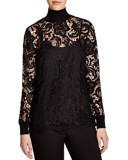 Knit and Lace Turtleneck Blouse by Dylan Gray in American Horror Story - Season 5 Episode 11