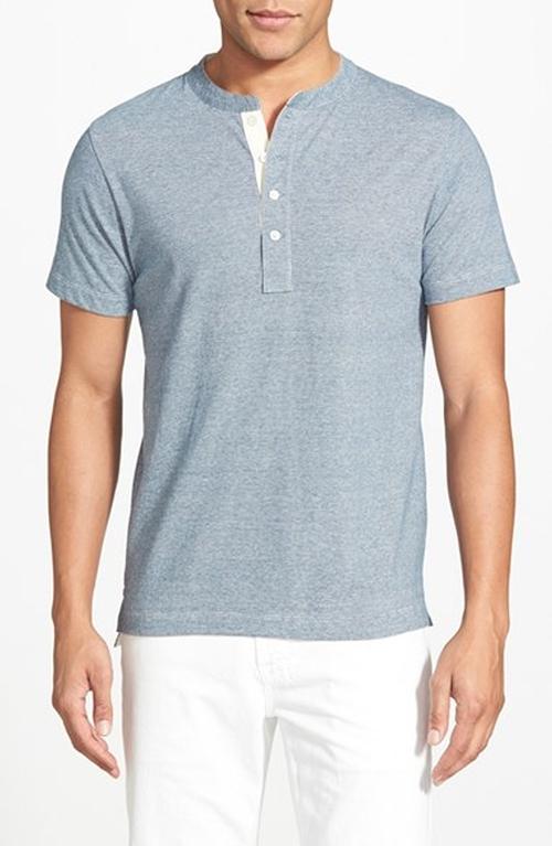 Pensacola Trim Fit Henley T-Shirt by Billy Reid in Nashville - Season 4 Episode 3