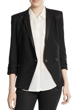 Leather Paneled-Stretch Wool Blazer by Helmut Lang in Barely Lethal