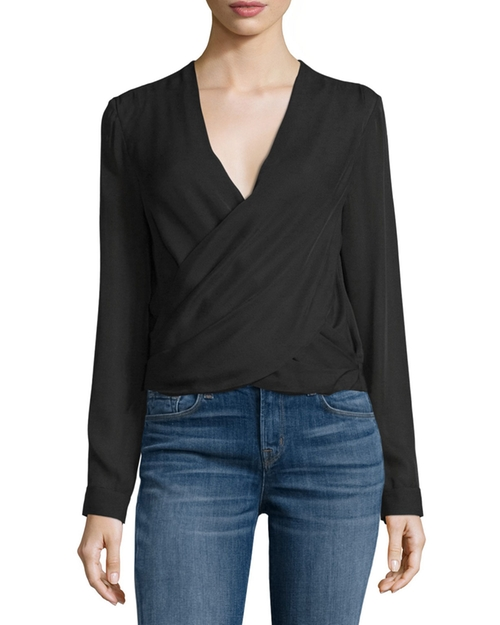 Gia Long-Sleeve Silk Wrap Blouse by L'Agence  in Quantico - Season 2 Episode 1