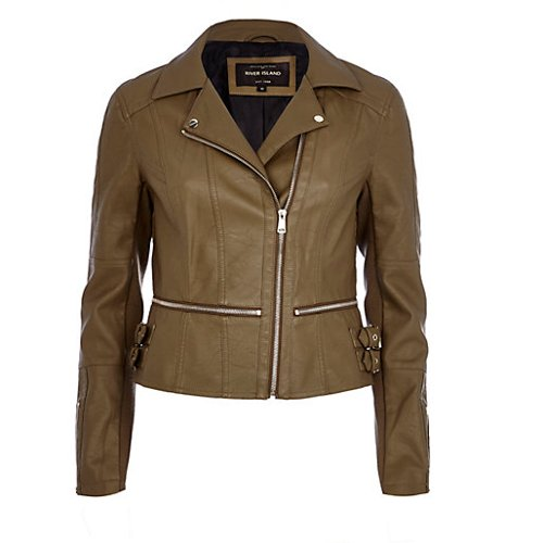 Khaki Zip Waist Biker Jacket by River Island in Fast & Furious 6