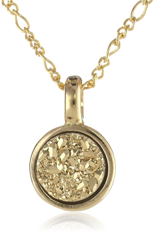 Druzy Small Circle Pendant Necklace by Marcia Moran in Clueless