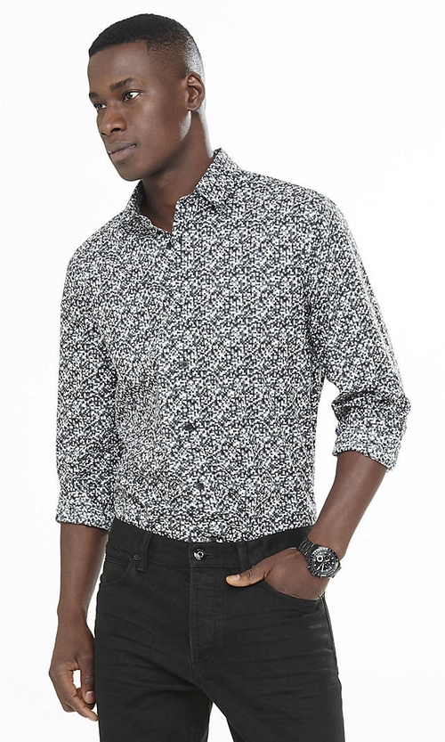 Fitted Pixel Print Shirt by Express in Ride Along 2