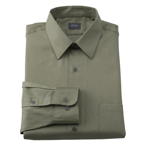 Fit Sateen No-Iron Point-Collar Dress Shirt by Arrow Classic in Jersey Boys